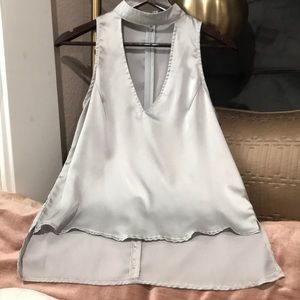 MISSGUIDED silver silk sleeveless blouse